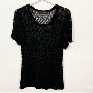 Rag & Bone Black Wool Blend Lace Short Sleeve